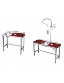 Stainless steel table for preparation and cleansing with fiber