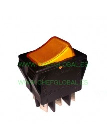 Momentary rocker switch 30x22mm orange 2CO 250V 16A lighted connection male faston 6,3mm