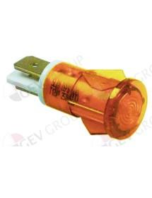 Lámpara de señalización ø 12mm amarillo 230V empalme conector Faston 6,3mm