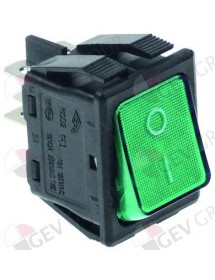 Rocker switch 30x22mm green 2NO 250V 16A illuminated 0-I connection male faston 6,3mm