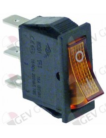 Rocker switch 30x11mm orange 1NO/indicator light 250V 16A 0-I connection male faston 6,3mm