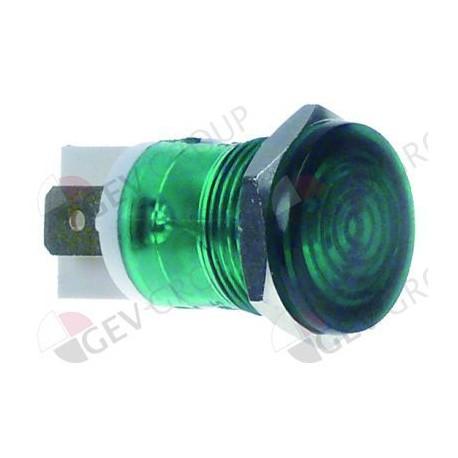lámpara de señalización ø 16mm 230V verde empalme conector Faston 6,3mm