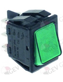 Rocker switch 30x22mm green 2CO 250V 16A illuminated connection male faston 6,3mm