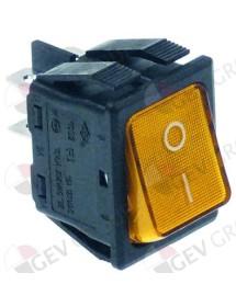 pulsador basculante 30x22mm naranja 2NO 250V 16A iluminado 0-I empalme conector Faston 6,3mm
