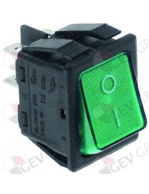 momentary rocker switch 30x22mm green 2NO 250V 16A illuminated 0-I connection male faston 6,3mm