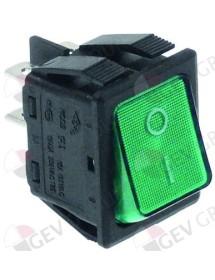 pulsador basculante 30x22mm verde 2NO 250V 16A iluminado 0-I empalme conector Faston 6,3mm