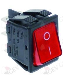 pulsador basculante 30x22mm rojo 2NO 250V 16A iluminado 0-I empalme conector Faston 6,3mm