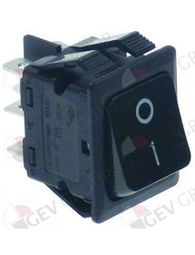 Rocker switch 30x22mm black 2NO 230V 16A 0-I connection male faston 6,3mm