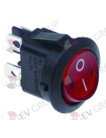 Rocker switch 20mm red 2NO 250V 10A I O connection male faston 4,8mm