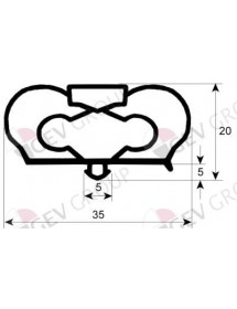 Refrigeration gasket profile 9798 W 631mm H 738mm plug size Infrico