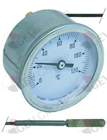 thermometer mounting ø 52mm t.max. 120°C measuring range 0 up to +120°C probe ø 6,5mm
