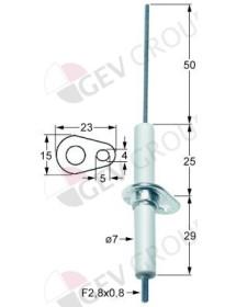 electrodo de encendido longitud brida 23mm anchura brida 15mm D1 ø 7mm L1 50mm LC1 25mm Jemi