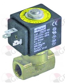"Solenoid valve 2-ways 230 VAC connection 1/4"" DN 3mm slide-on receptacle DIN -20° up to 130°C"