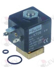 Válvula magnética 2vías 230 VAC con juntas tóricas PARKER tipo de bobina KT09 60Hz brida 22x22mm