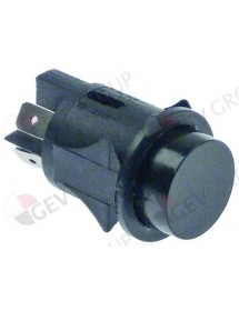 momentary push switch mounting ø 25mm black 2NO 250V 16A connection male faston 6,3mm