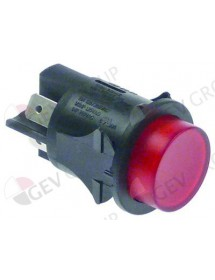 Push switch mounting ø 25mm red 2NO 250V 16A illuminated connection male faston 6,3mm