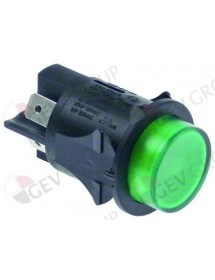 Push switch mounting ø 25mm green 2NO 250V 16A illuminated connection male faston 6,3mm