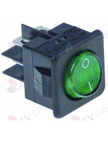 Rocker switch 27,8x25mm green 2NO 250V 16A illuminated 0-I connection male faston 6,3mm