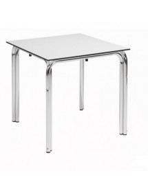 Double tube aluminum table with compact board 80x80