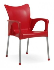 Polypropylene and aluminum chair with armrests