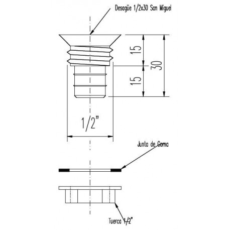 Coreco drainage 1 / 2x30 Nut gas San Miguel