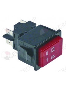 Push switch 34,1x23,1mm red 2NO 250V 16A connection male faston 6,3mm 0-1 GAM, Project