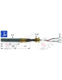 """thermoelectric generator 750mV probe ø 9mm probe L 65mm L 900mm thread 7/16"""" SIT"""