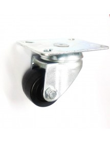 Rueda pivotante metálica ø 30mm H45mm sujeción placa 53x61mm 1x con anclaje