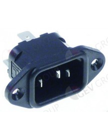 Low temperature appliance plug C14 male faston 6,3mm max 10A/250V T70