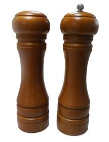 Set salero y pimentero en madera walnut de 20 cm