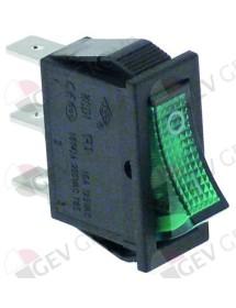 interruptor basculante 30x11mm verde 1NO/lámpara 250V 16A 0-I empalme conector Faston 6,3mm