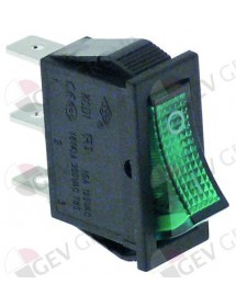 Rocker switch 30x11mm green 1NO/indicator light 250 V 16 A 0-I connection male faston 6.3mm