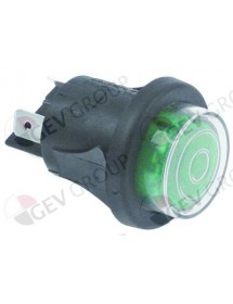 Push switch mounting ø 25mm green 2NO 250V 16A illuminated connection male faston 6.3mm