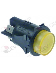 push switch mounting ø 25mm yellow 2NO 250V 16A illuminated connection male faston 6,3mm