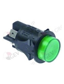 momentary push switch mounting ø 25mm green 2NO 250V 16A illuminated connection male faston 6.3mm