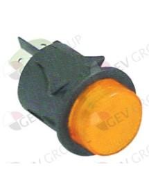 pulsador montaje ø 25mm verde 2NO 250V 16A iluminado empalme conector Faston 6,3mm