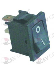 Rocker switch mounting measurements 19x13mm black 1NO 250V 10A 0-I connection male faston 4.8mm
