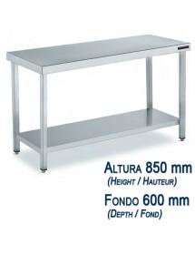 Table basse acier inoxydable avec étagère fond 600 mm et hauteur 850 mm