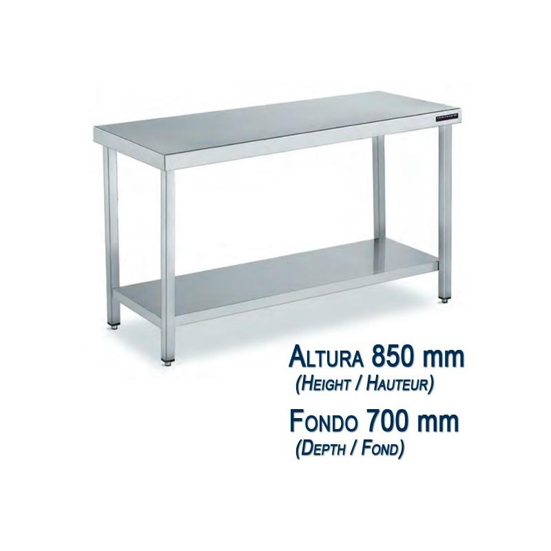 Table basse acier inoxydable avec tag re fond 700 mm et hauteur 850 mm chef global machines - Etagere telescopique acier inoxydable ...