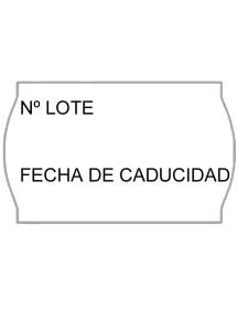 Rollos de etiquetas Onduladas 26X16 blanca Número lote y fecha caducidad (40 rollos)