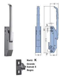 Cierre Vertical Nariz Epoxy Grande Sin llave 260mm