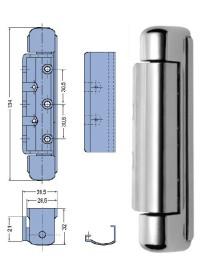 Bisagra vertical zamak 134mm con embellecedor inox sin muelle Peso 250gr