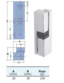 Vertical zamak hinge 95mm 26x30mm 250gr