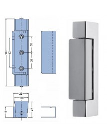 Vertical zamak hinge 134mm with stainless steel trim no spring weight 250gr
