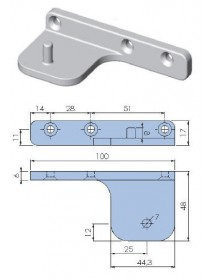 Support pivot hinge nickel plated zamak lower right or upper left