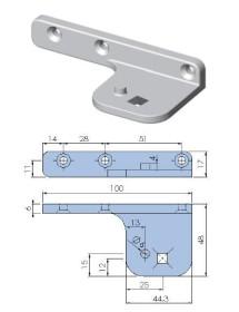 Soporte Bisagra pivot zamak niquelado fijación cuadrada inferior derecho o superior izquierdo