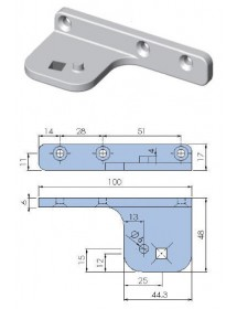 Support pivot hinge, nickel plated zamak fixing square, upper right or lower left 691738