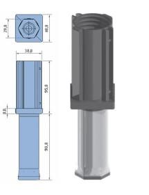Pata regulable 40x40mm poliamida parte móvil hexagonal acero inoxidable. Elevación máxima: 50mm Peso: 85g