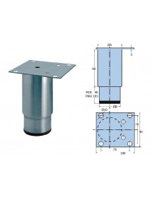 Adjustable foot stainless steel cylindrical fixed and moving parts. Pletina not centered. Weight: 425g
