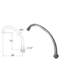 Gooseneck pipe D18mm chromed brass